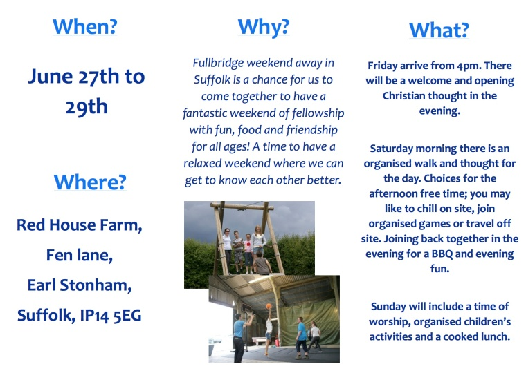 Flyer for weekend away 2