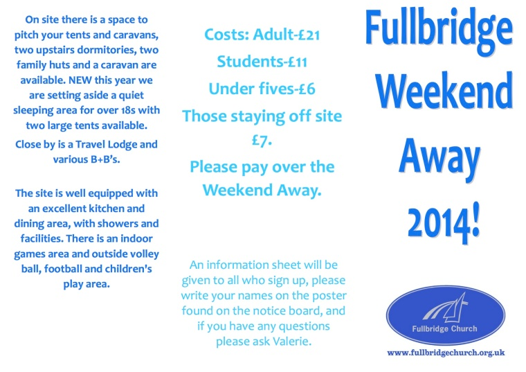 Flyer for weekend away copy
